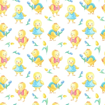 Watercolor easter seamless pattern with cute yellow chickens in clothes, blue tulipes flower.