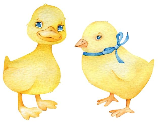 귀여운 닭과 오리 만화 스타일에서의 수채화 부활절 세트.