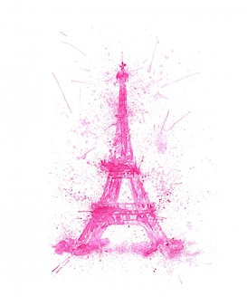 Watercolor eiffel tower with pink splashes isolated