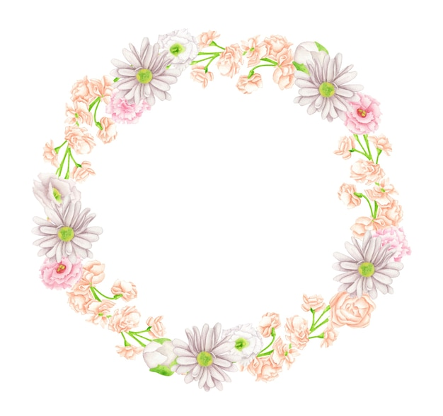 Watercolor elegant floral wreath. round frame with blush and peach color flowers