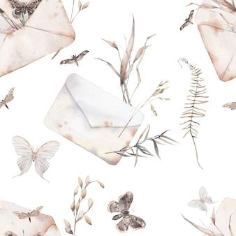 水彩封筒と蝶のシームレスなパターン。手には、ハーブ、紙の封筒、白い背景にさまざまな飛んでいる蝶とビンテージテクスチャが描画されます。ロマンチックな夏の飾り