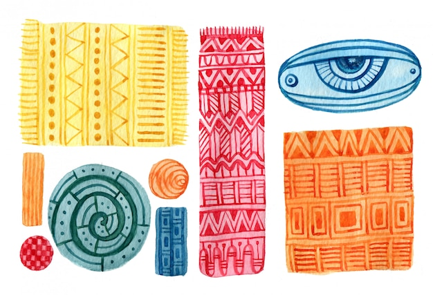 Watercolor ethnic and geometric design elements.