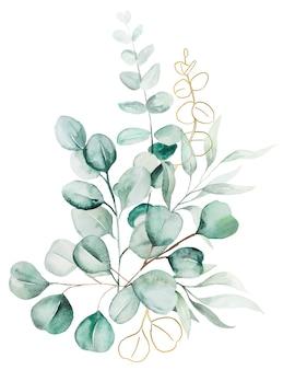 수채화 유칼립투스 잎 꽃다발