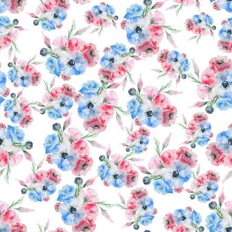 Watercolor eustoma flower pattern