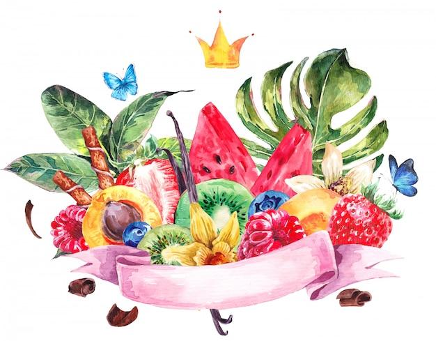 Watercolor exotic menu fruits card