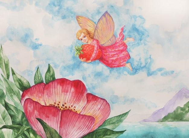 Акварель сказочный сад волшебное существо. маленький ангел-эльф в зеленых листьях розовых цветов. абстрактный летний фон ребенок дети текстильная печать. иллюстрация фэнтези украшения древесины природы.