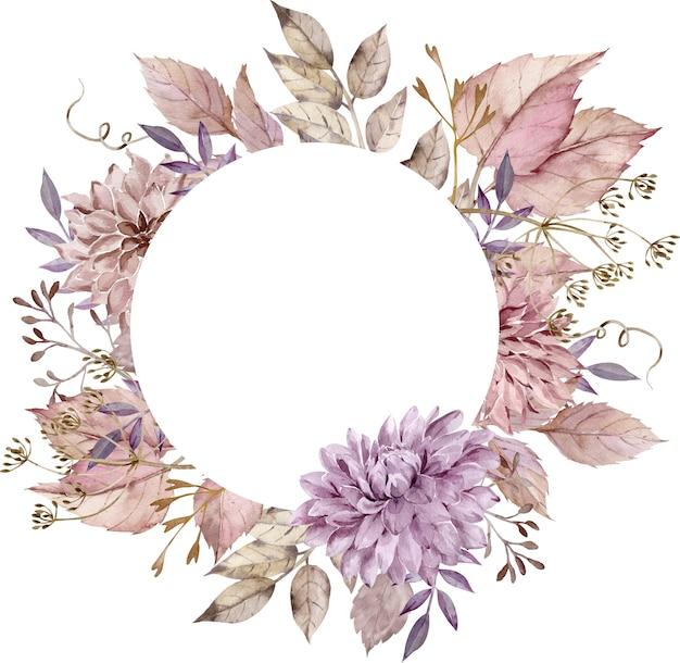 赤面ピンクの葉、ダリア、アスターと水彩の秋の花のサークルフレーム。秋の装飾。