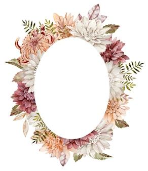 수채화가 꽃 타원형 프레임입니다. 가을 흰색, 주황색, 진홍색 과꽃과 국화 템플릿.