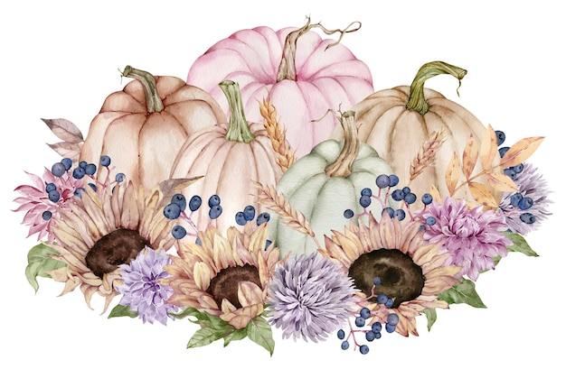 Акварель осенние цветы, подсолнухи, осенние листья, ягоды в тыкве. красивая цветочная и тыквенная композиция.