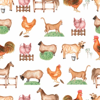 Watercolor farm  seamless pattern.
