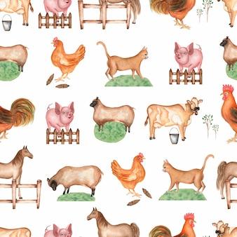 Watercolor farm  seamless pattern.