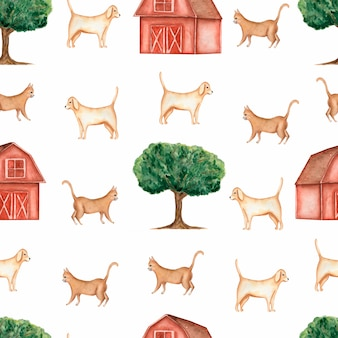 Watercolor farm seamless pattern
