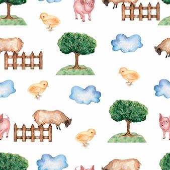 Watercolor farm seamless pattern