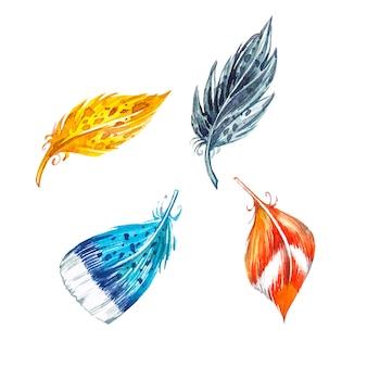 수채화 깃털. 손은 흰색 바탕에 수채화 그림을 그립니다. 부활절 컬렉션.