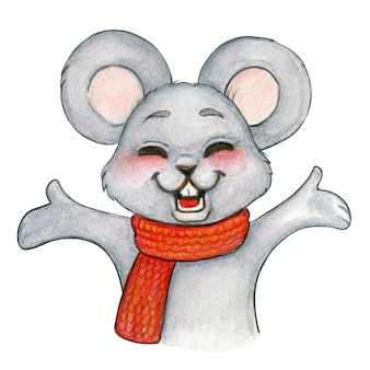 Watercolor festive mouse happy open arms