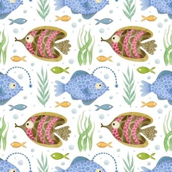 수채화 물고기 원활한 패턴 흰색 바탕에 바다 친구 배경