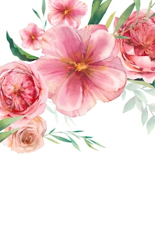 Watercolor floral background design. pink roses arrangenment template.