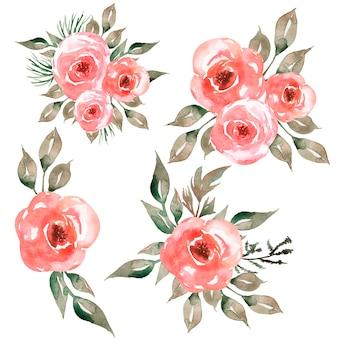 핑크 꽃, 회색 녹색 잎 수채화 꽃 꽃다발 그림