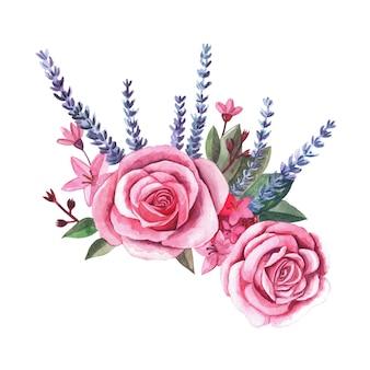 분홍색 장미 꽃의 빈티지 식물 삽화의 수채화 꽃 꽃다발, 흰색으로 격리된 보라색 라벤더, 웨딩 디자인 배열