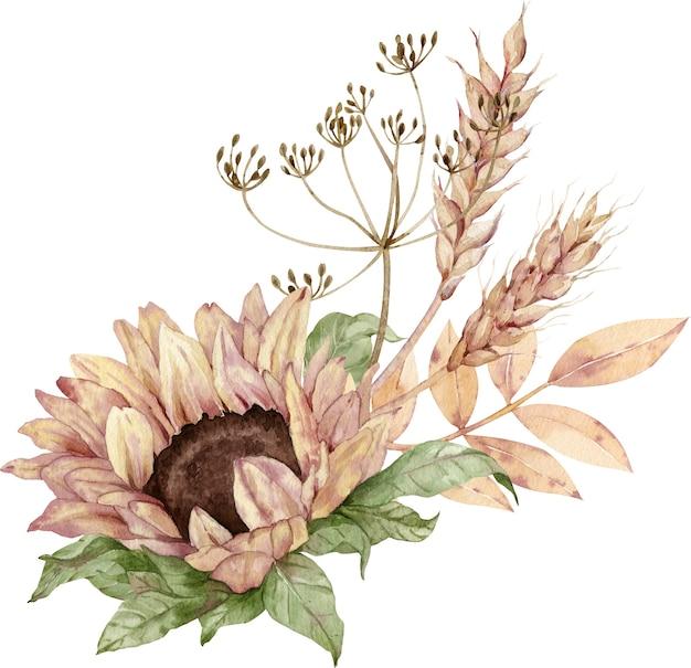 水彩画の花の花束。ひまわり、ディル、小麦の穂。感謝祭のイラスト。収穫と秋のコンセプトです。