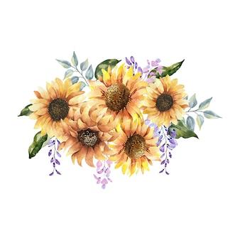 수채화 꽃 꽃다발 야생, 숲 허브, 꽃, 가지. 흰색 배경에 고립 된 그림, 녹색 잎. 손으로 그린 꽃 요소 coleccion.