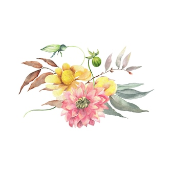 Watercolor floral bouquet.wild, forest herb, flowers, branches. illustration isolated on white background, green leaves. hand painted floral elements coleccion.