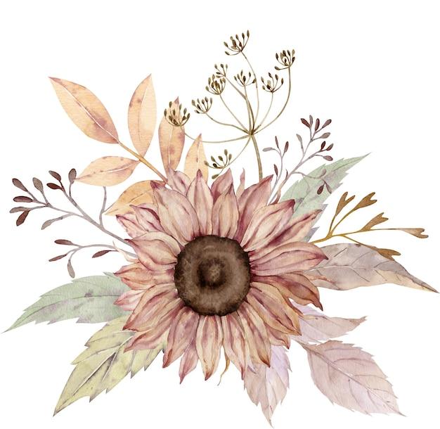수채화 꽃 꽃다발.