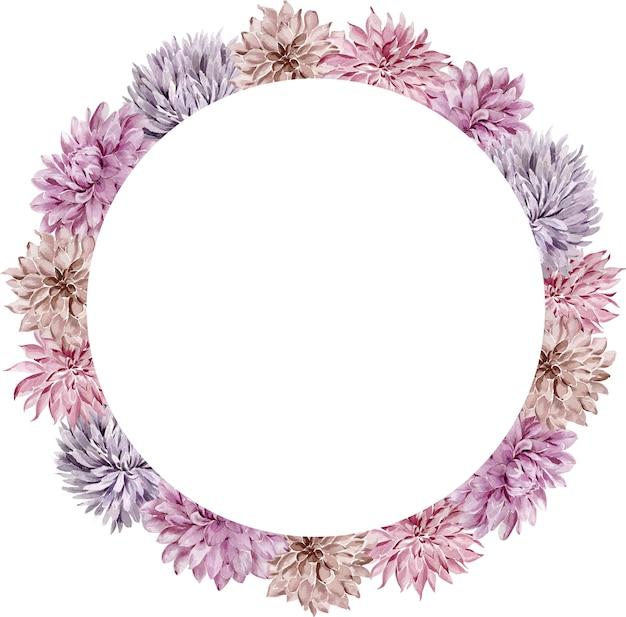 水彩花のサークルフレーム。秋のアスターとダリアの花輪は、白い背景で隔離。紫の花のフレーム。