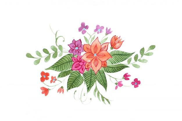 밝은 야생 꽃과 잎의 수채화 꽃 조성