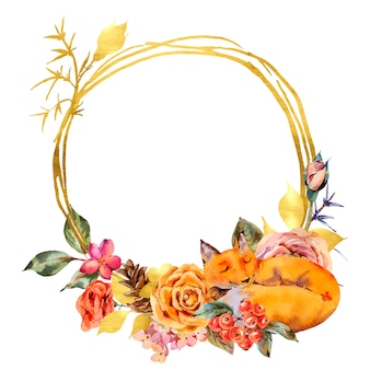 Watercolor floral gold frame with sleeping fox, rose, berries, pine cone and wildflowers.