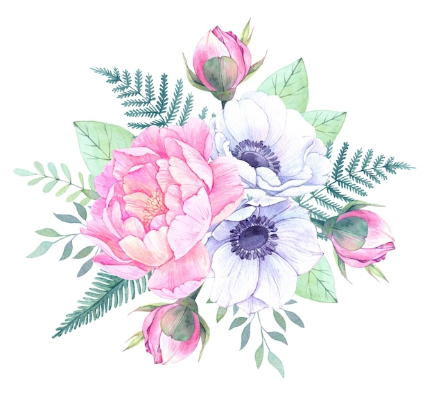 Watercolor floral illustration. bouquet with peonies, anemone flowers, leaves
