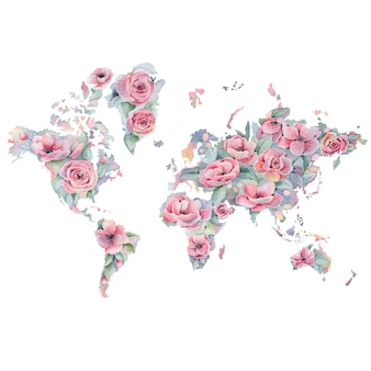 Watercolor floral map