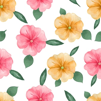 Watercolor floral pattern on white seamless background. hand painted pink and orange flowers and green leaves.