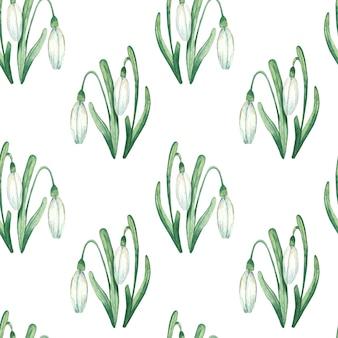 白いスノードロップと水彩花柄