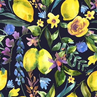Watercolor floral seamless pattern, branch of fresh citrus fruit lemon