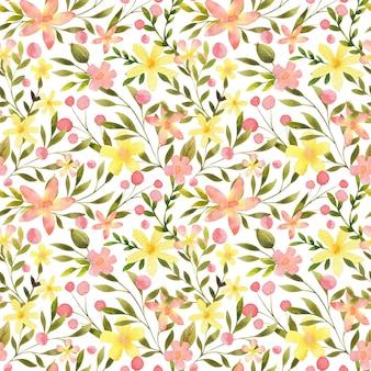 水彩花柄のシームレスなパターン。手描きの繊細な植物のリピートプリント。花と葉のヴィンテージデザイン。テキスタイル、ファブリック、アパレル、包装紙、パッケージ、壁紙のかわいい背景。
