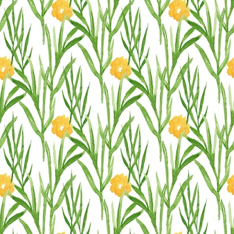 Watercolor floral seamless pattern with yellow flowers. can be used for wrapping, textile, wallpaper and package design.