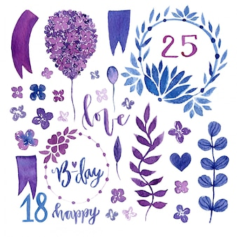 Watercolor floral set. isolated floral design elements for invitations, wedding, birthday decoration
