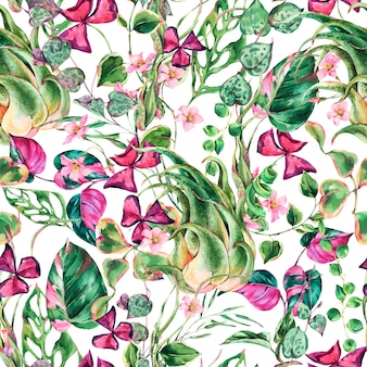 Watercolor floral tropical leaves seamless pattern. botanical summer texture. summer plants. natural exotic flowers wallpaper