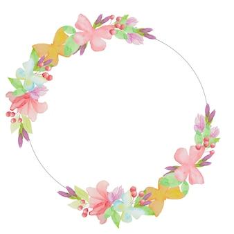 수채화 꽃 화환, 나비와 꽃 손으로 그린 그림-디자인, 초대장, 인사말 카드