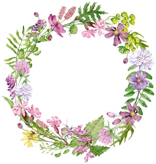 Watercolor floral wreath with herbs and wildflowers isolated on white background