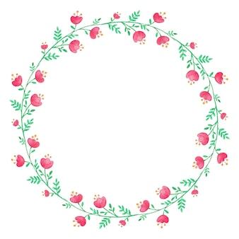 ピンクの花と水彩花の花輪