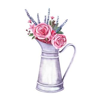 ヴィンテージメタルピッチャーの水彩フラワーアレンジメント。白い背景の上のバラ、ロバンダ、ベリーの花束。農場と庭の室内装飾