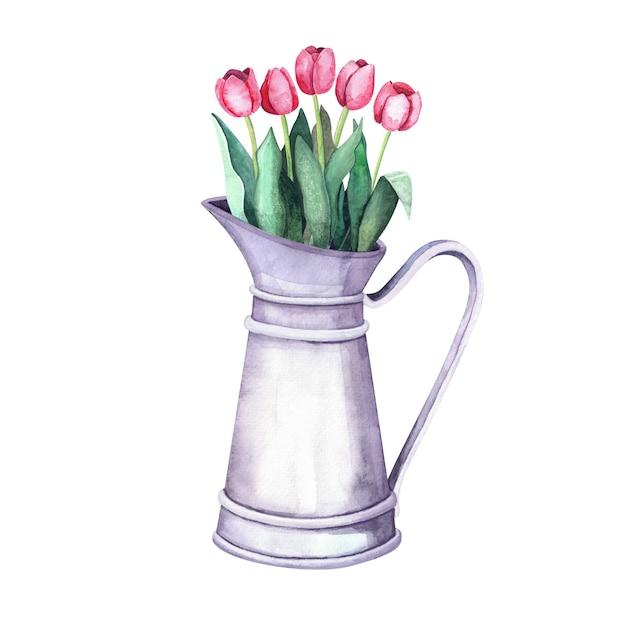 ヴィンテージメタルピッチャーの水彩フラワーアレンジメント。白い背景の上のチューリップと花束。農場と庭の室内装飾