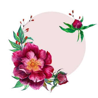 Watercolor flower arrangement - oval frame