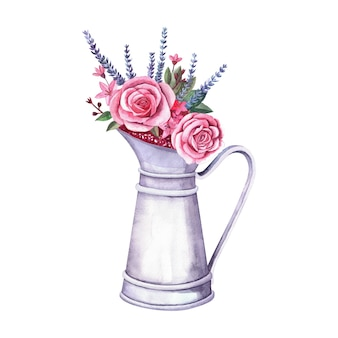 Watercolor flower arrangement in a vintage metal pitcher. bouquet with roses, lovanda and berries on white background. farm and garden interior decoration
