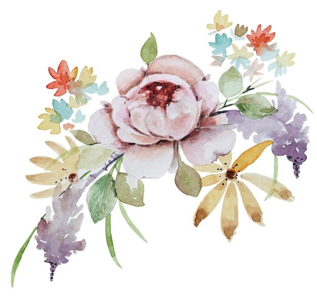 水彩フラワーブーケ。白い背景に分離された花の組成物。
