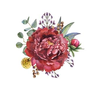 Акварельный букет цветов с листьями и пионами