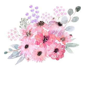 다양 한 모양의 수채화 꽃 프레임입니다. 꽃, 잎 및 꽃 봉오리.