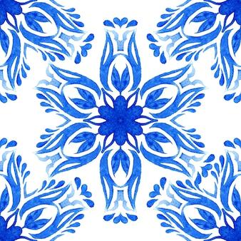 Watercolor flower seamless pattern azulejo tile
